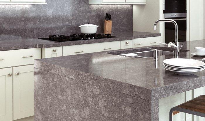 Кварцевые поверхности в интерьере кухни