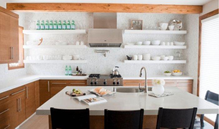 Штучний камінь в інтер'єрах відкритих кухонь