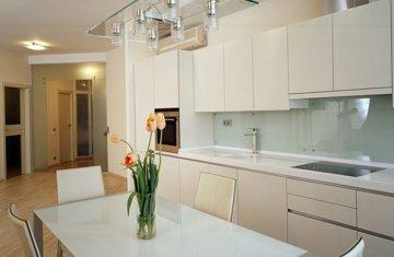 Как применять искусственный камень и стекло в интерьере кухни?
