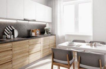 Цвет кухонной столешницы для мебели с деревянными фасадами